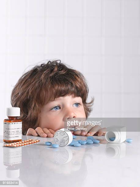 Child putting medicine pill in mouth
