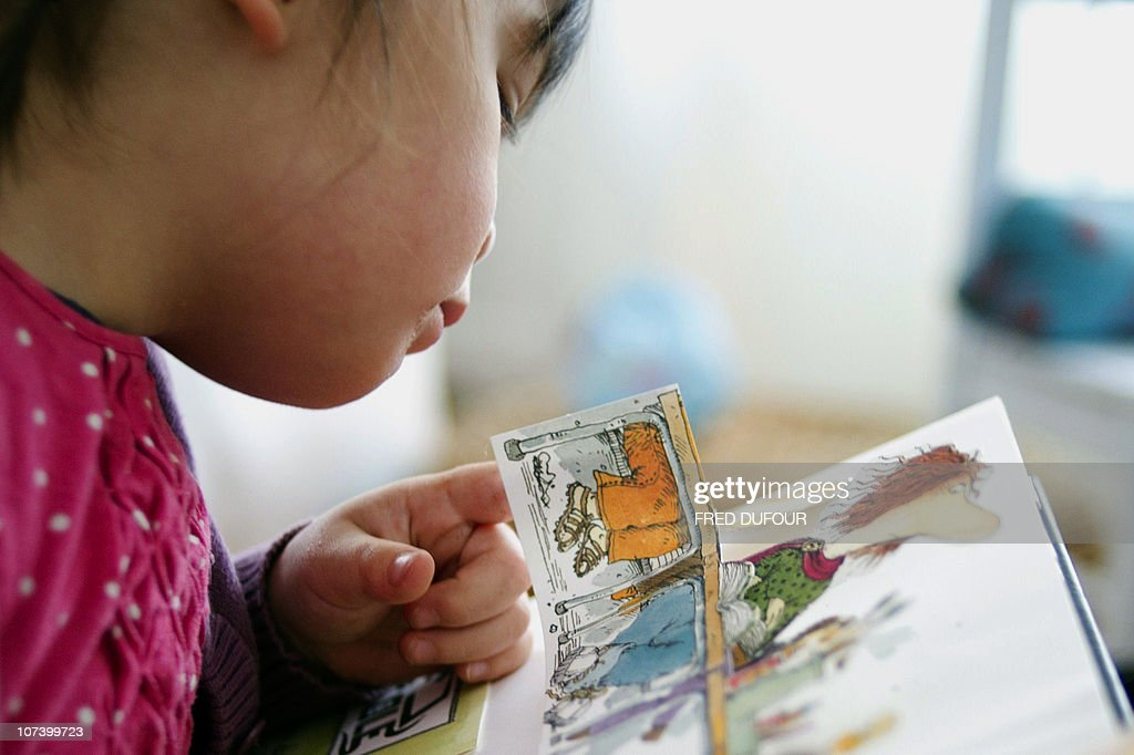 PELLEGRIN - A child reads a pop-up book, three-dimensional or movable book, on December 04, 2010 in Paris. Pop-up books made known in the 19th century by German Lothar Meggendorfer are more and more popular on the market especially on the eve of Christmas celebrations. AFP PHOTO / FRED DUFOUR