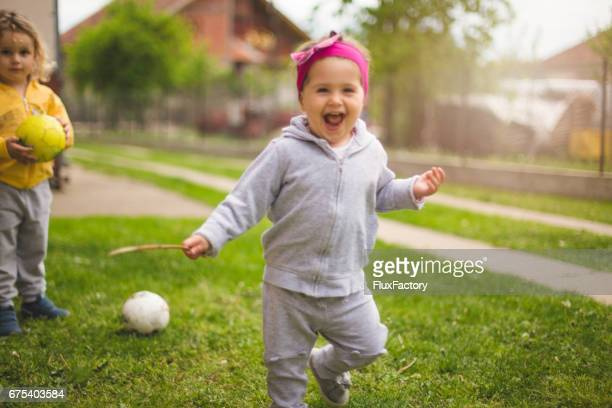 Child running and smiling