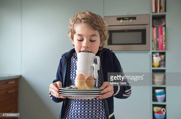 Child setting the table