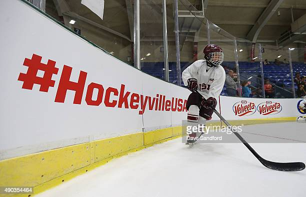 A child skates on the ice during Day 1 of NHL Kraft Hockeyville USA at the Cambria County War Memorial Arena on Septomber 27 2015 in Johnstown...