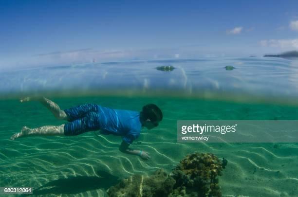 Child swimming with fish