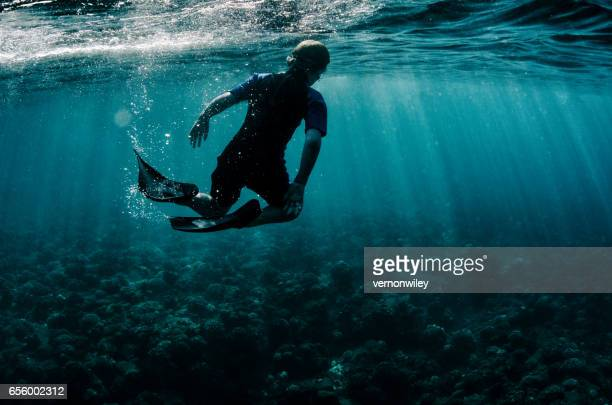 Child swims over the dead coral reef of Hawaii