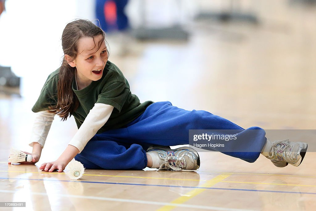 A child takes part in a game during the launch of the New Zealand Olympic Ambassador Programme at ASB Sports Centre on June 20, 2013 in Wellington, New Zealand.