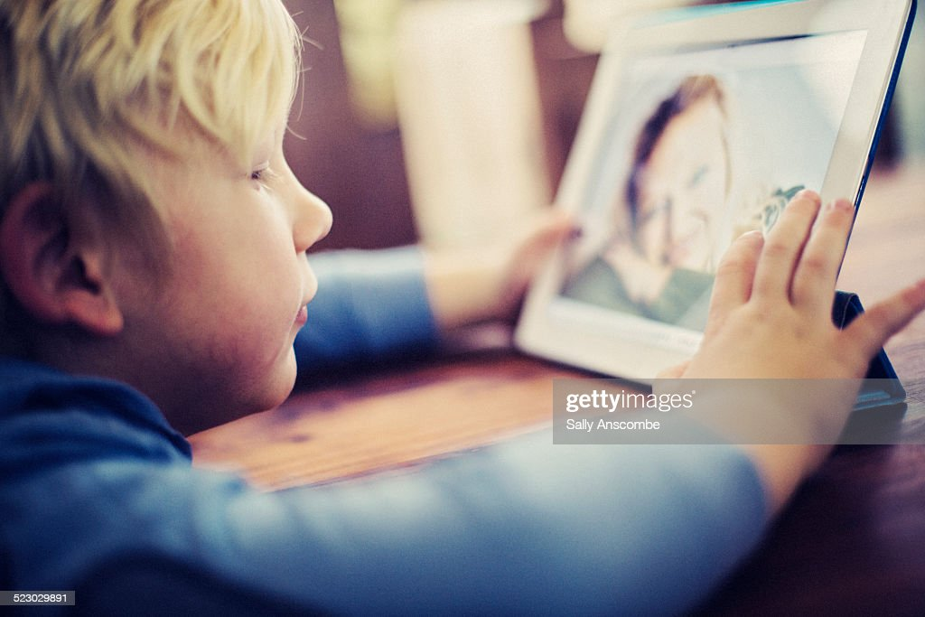 Child talking to his Mummy over the internet.