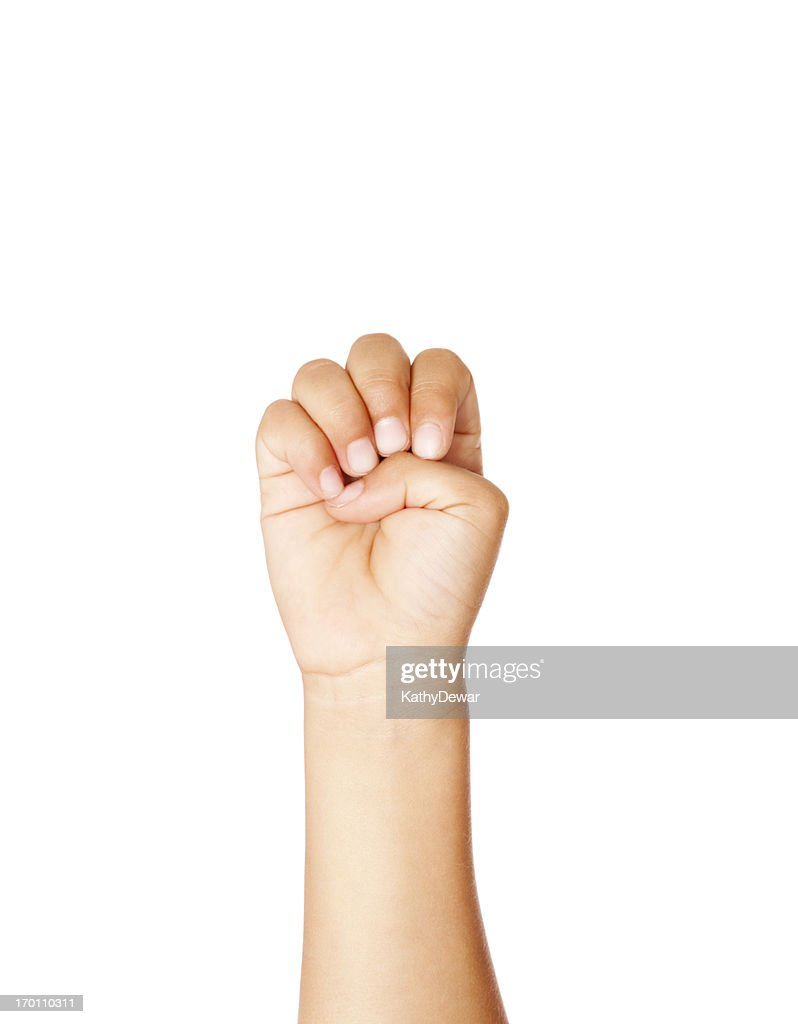 Child Using American Sign Language Letter E