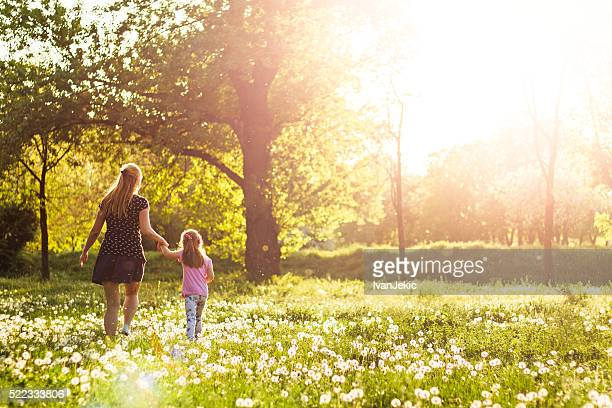Child walking in meadow with mother at sunset