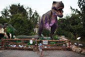 A child walks past a replica of a Tyrannosaurus during a visit to the Dinosaur exhibit at the at Jerusalem Botanical Gardens on July 27 as part of...