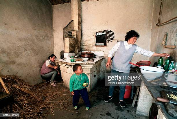 A child watches her grandmother prepare lunch as her mother stokes the fire in their small rural household in a tiny hamlet Three generations live in...