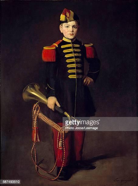 Child with a pipe Painting by Eva Gonzales 1870 Oil on canvas 129 x 097 m Gajac Museum Villeneuve Sur Lot France