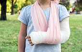 Little kid with broken hand and cast,selective focus