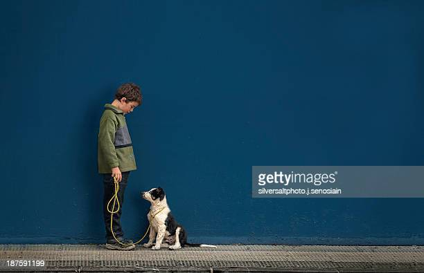 Child with dog on blue background
