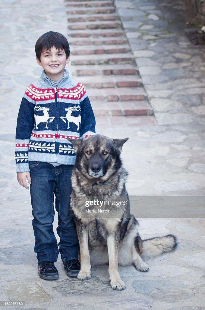Child with dog : Stock Photo