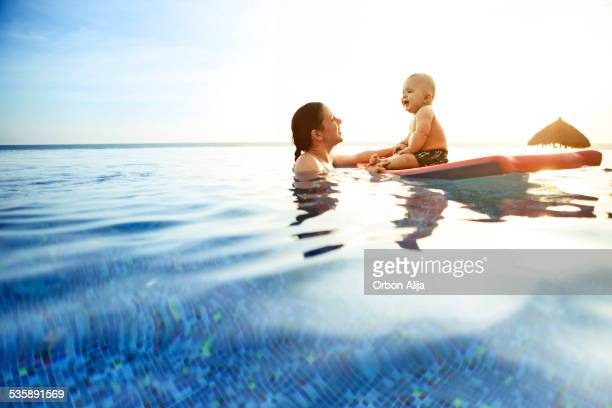 Child with mother in swimming pool