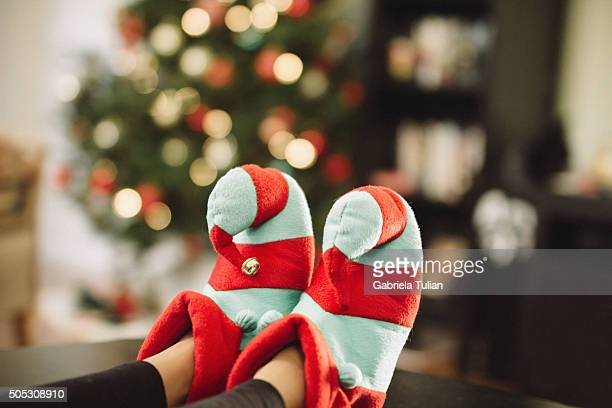 Child with slippers in holiday