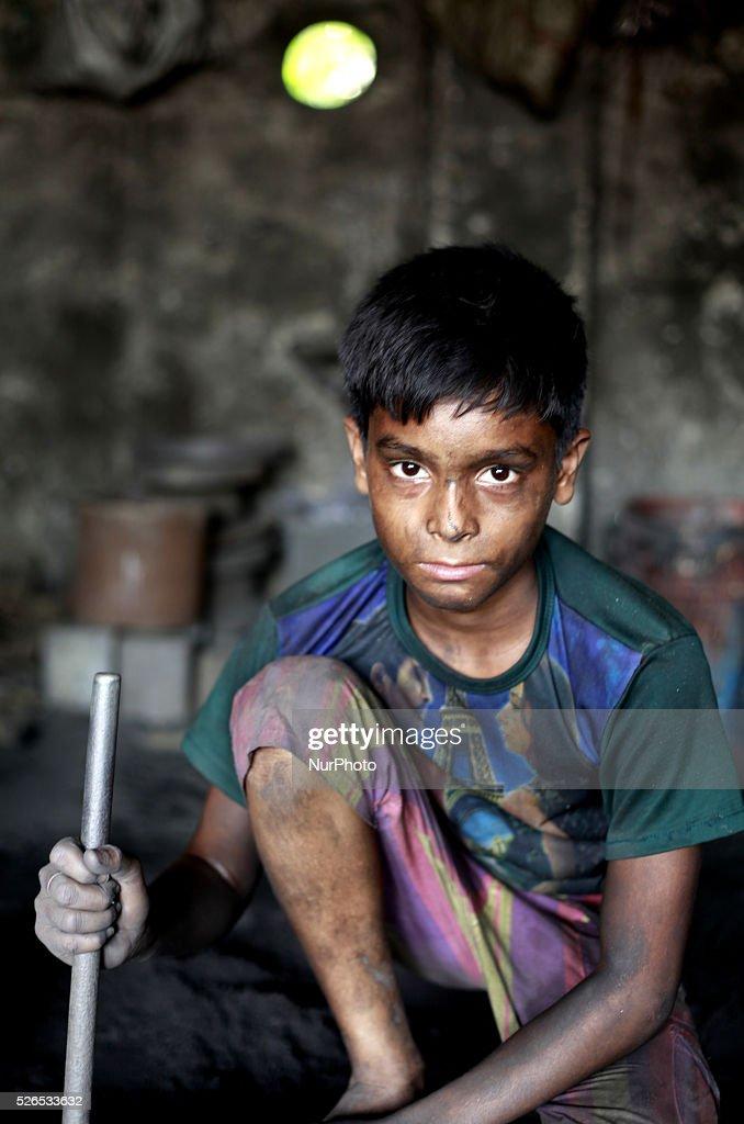 Child worker working at shipyard, in Dhaka, Bangladesh, on April 30, 2016.