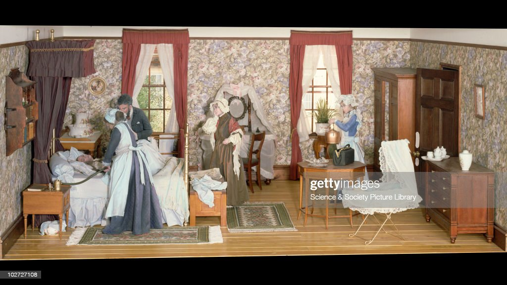Childbirth in the 1860s, England, 1979. Childbirth in the 1860s, diorama for Lower Wellcome Gallery, which includes administration of anaesthetic. United Kingdom 1979.