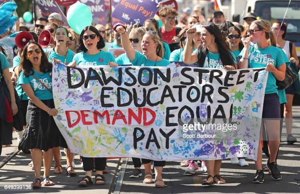 Childcare workers from Dawson Street Child Care Cooperative walk down Sydney Road during a protest march as part of a campaign for higher wages on...