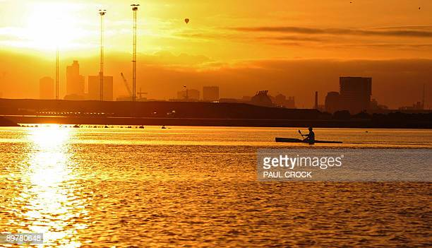Childhood Cancer Institute of Australia ambassador Craig Goozee paddles his sea kayak on the Yarra river at dawn on day 73 of his 93 day marathon...