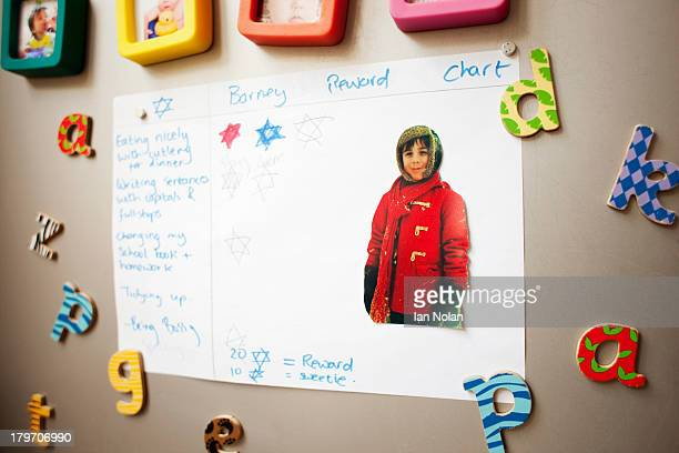 Childhood photographs and rewards chart on wall