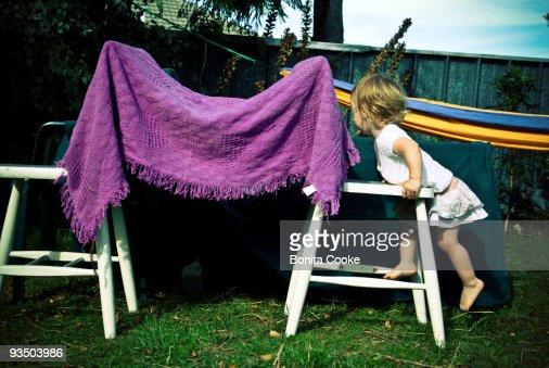 Childhood play, makeshift tent : Stock Photo