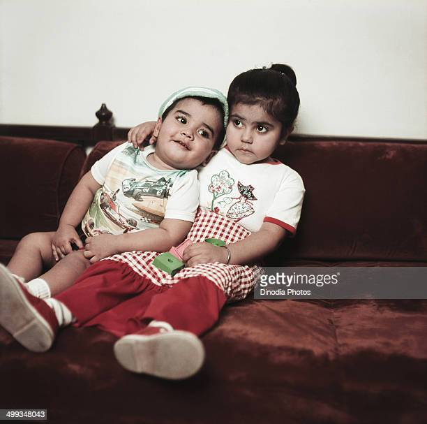 1980 Childhood Portrait of actor Tushar Kapoor and director Ekta Kapoor