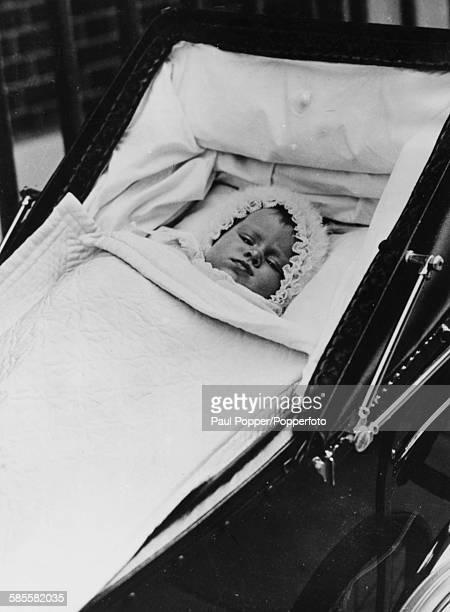 Childhood portrait of Queen Elizabeth II pictured lying in her pram 1926