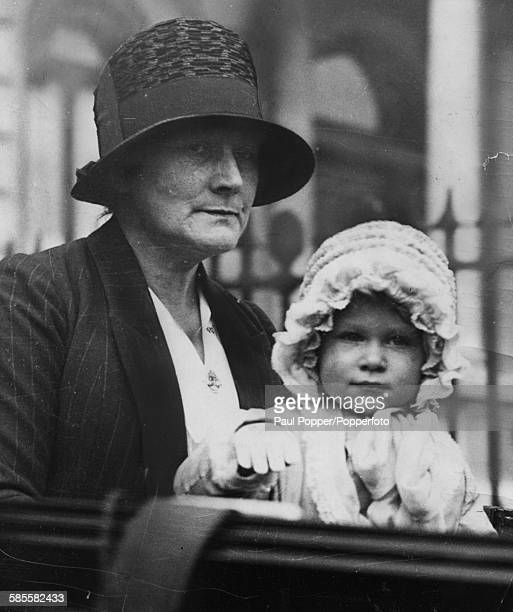 Childhood portrait of Queen Elizabeth II with her nanny Clara Knight outside her home at 145 Piccadilly London 1928