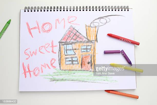 A childlike drawing of a house