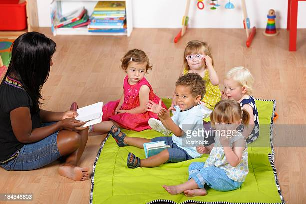 Childminder Reading To A Group Of Toddlers At Nursery