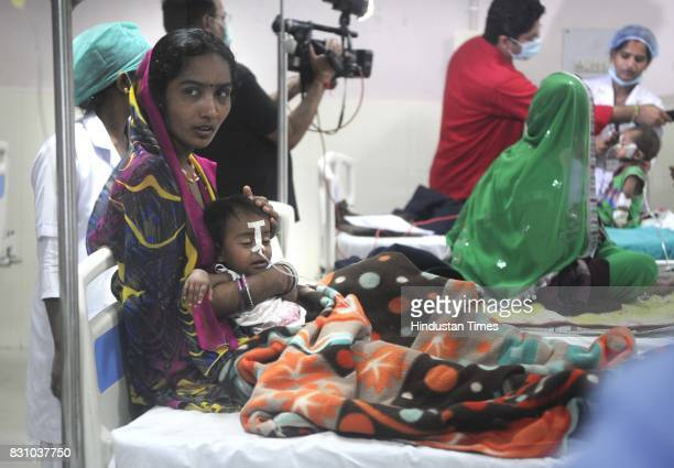 Children admitted in BRD Medical College where around 70 children have died for various reasons including lack of oxygen supply in last few days in...