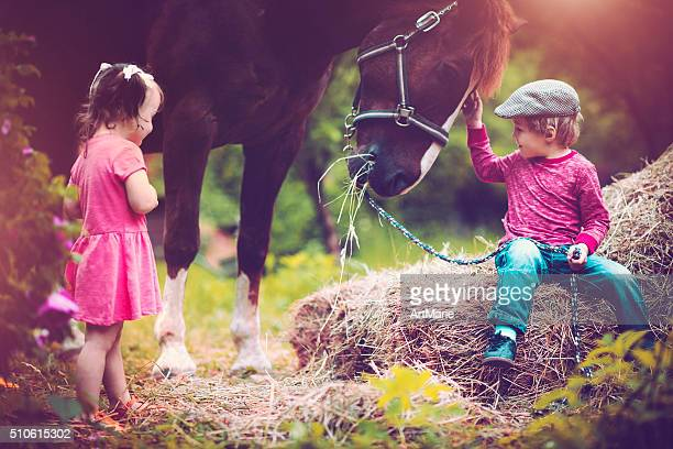 Children and a horse