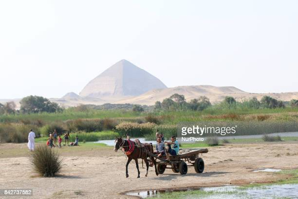 Children and families walk and play in the village of Dahshour located in the province of Giza Egypt in the northern part of the Nile Valley on 4...