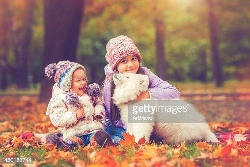 Children and puppy