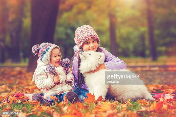 Children and puppy