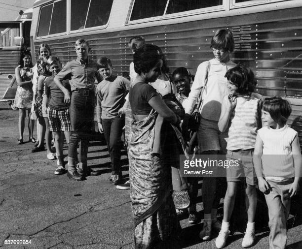 Children And Supervisor Unindentified Board Bus For Camp Chief Ouray Of 165 children attending the two week YMCA sponsored campout 80 are diabetic...
