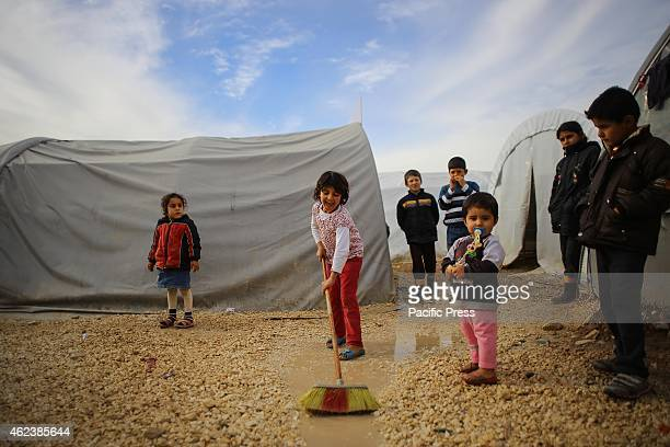 Children and women that was displaced from Kurdish Kobani daily lives in a refugee camp due to the intensification of fighting between the militants...