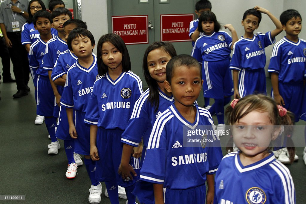 Children as mascots are seen ahead of the match between Chelsea and Malaysia XI on July 21, 2013 at the Shah Alam Stadium in Shah Alam, Kuala Lumpur, Malaysia.