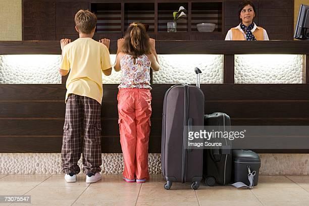 Children at a hotel reception