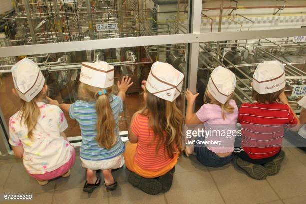 Children at a ice cream making plant Blue Bell Creameries