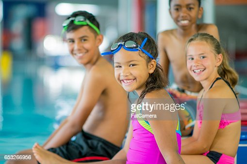 Children at a Swimming Lesson : Stock Photo