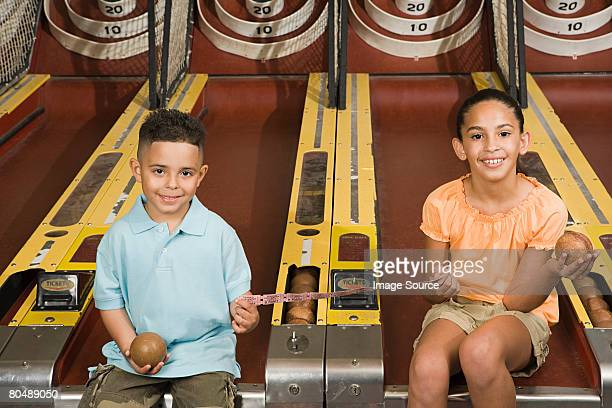 Children at amusement park
