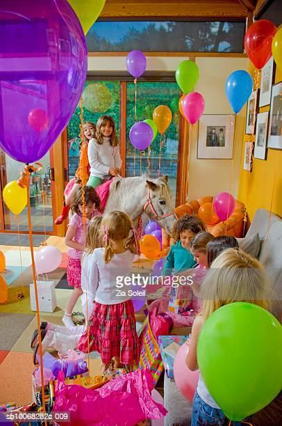 Children (4-9) at birthday party