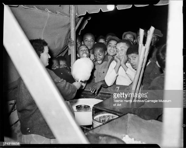 Children at cotton candy booth Pittsburgh Pennsylvania c 1945