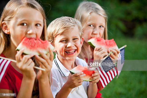 Children at Fourth of July or Memorial Day picnic