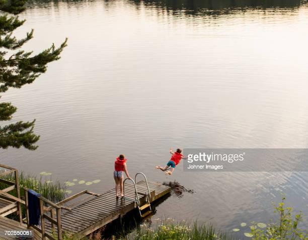 Children at lake