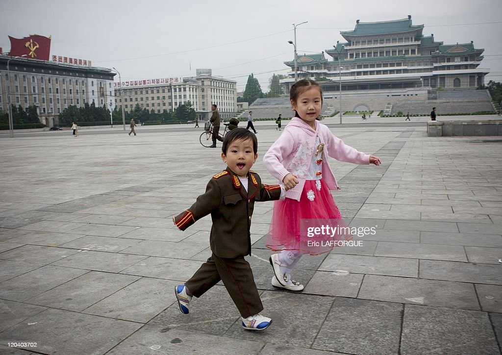 Children at square Kim Il Sung in Pyongyang, North Korea on May 22, 2009.
