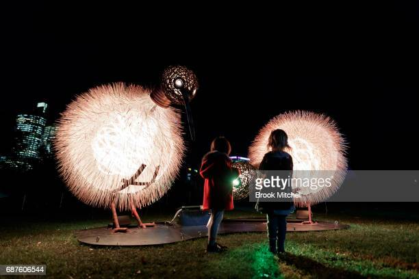 Children at the Birds of Lumos installation ahead of Vivid Sydney at The Royal Botanic Gardens on May 24 2017 in Sydney Australia Rowi the Kiwi and...