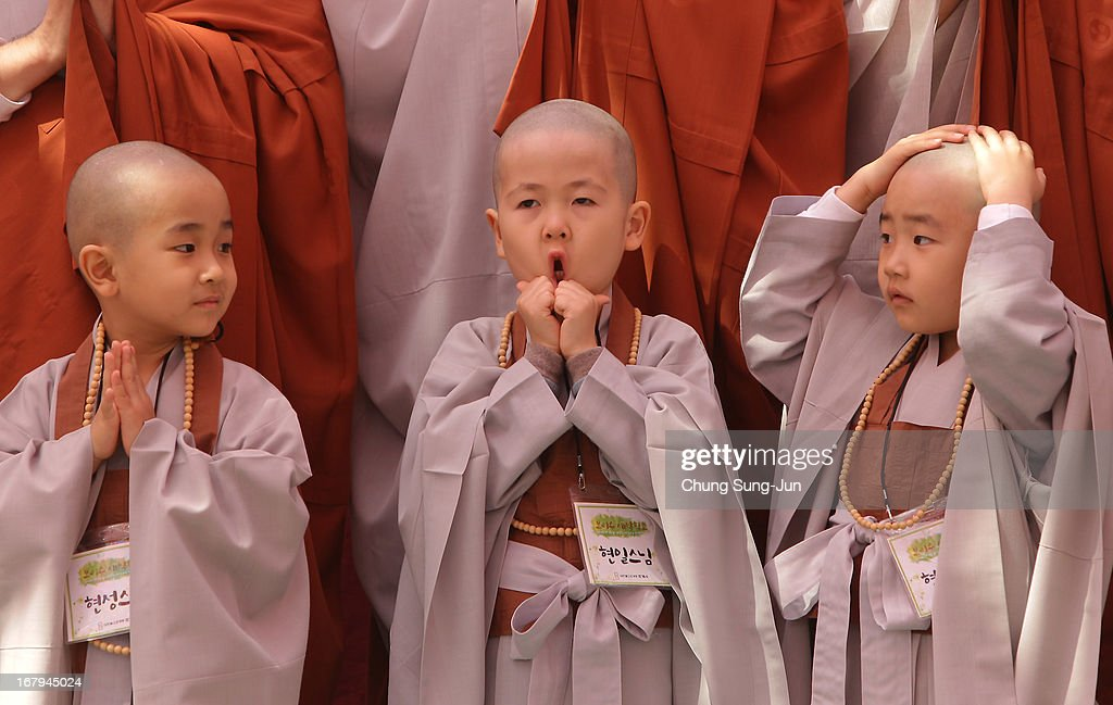 Children attend the 'Children Becoming Buddhist Monks' ceremony forthcoming buddha's birthday at a Chogye temple on May 3, 2013 in Seoul, South Korea. The children will stay at the temple to learn about Buddhism for 14 days. Buddha was born approximately 2,557 years ago, and although the exact date is unknown, Buddha's official birthday is celebrated on the full moon in May in South Korea, which is on May 17 this year.