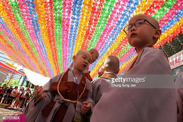 Children attend the 'Children Becoming Buddhist Monks' ceremony forthcoming buddha's birthday at a Chogye temple on May 2 2016 in Seoul South Korea...